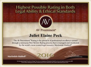 AV Preeminent Rating Icon for Juliet Peck