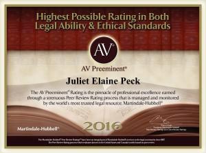 AV Preeminent Rating Icon for Juliet Peck